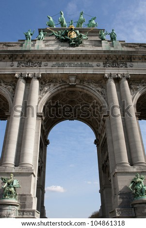 The Triumphal Arch (Arc de Triomphe) in the Cinquantenaire park in Brussels. Built in 1880 for the 50th anniversary of Belgium. - stock photo