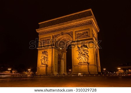 The triumphal Arch at night, Paris, France - stock photo