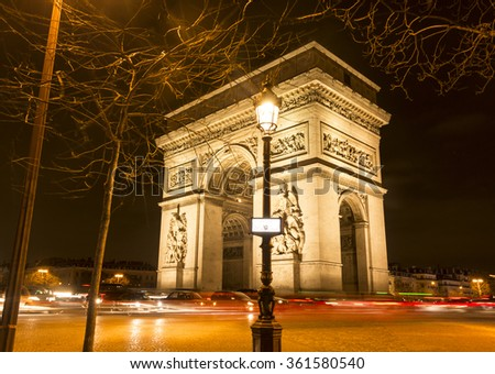 The Triumphal Arch at night, Paris, France.