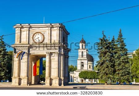 The Triumphal Arch in Chisinau - Moldova - stock photo