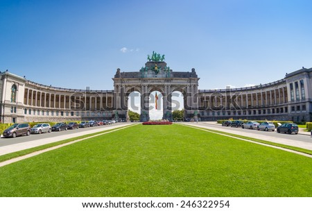 The Triumphal Arch or Arc de Triomphe in Brussels, Belgium - stock photo