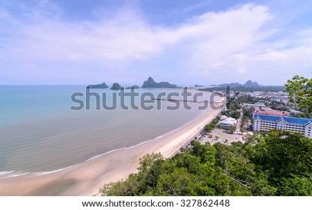 The tropical beach of Prachuap Khiri Khan Province, Southern of Thailand. Aerial view from Khao Chong Krajok temple top view point. Ao Prachuap Bay, Unseen Thailand.