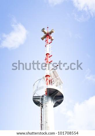 The tsunami warning tower. Thailand. - stock photo