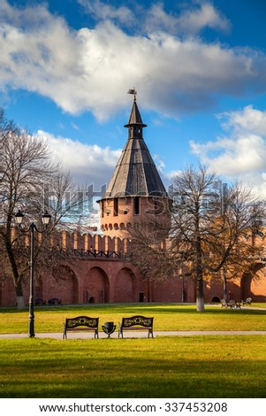The Tula Kremlin, a monument of architecture of the 16th century. Spasskaya Tower. The City Of Tula. Russia