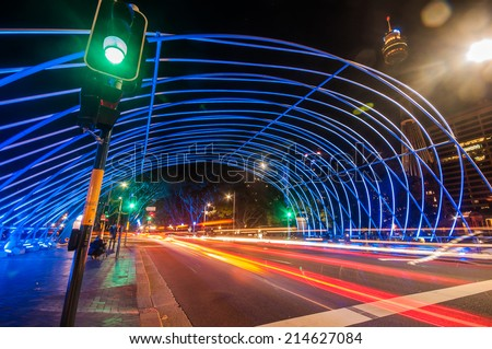 The tunnel at night, the lights formed a line