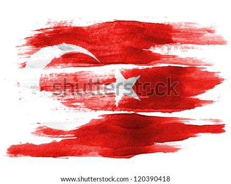 The Turkish flag painted on  white paper with watercolor - stock photo