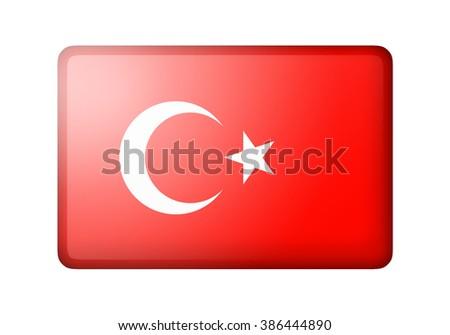 The Turkish flag. Rectangular matte icon. Isolated on white background. - stock photo