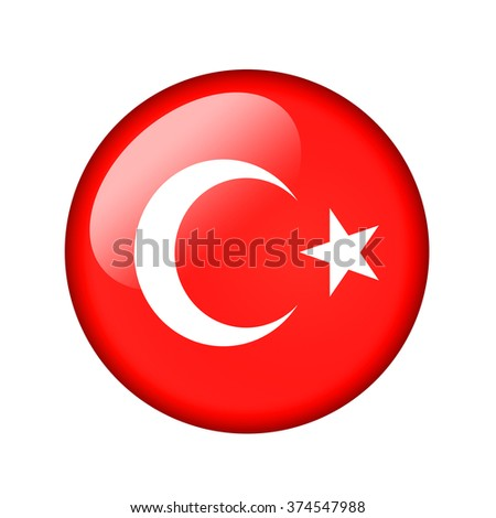 The Turkish flag. Round glossy icon. Isolated on white background.