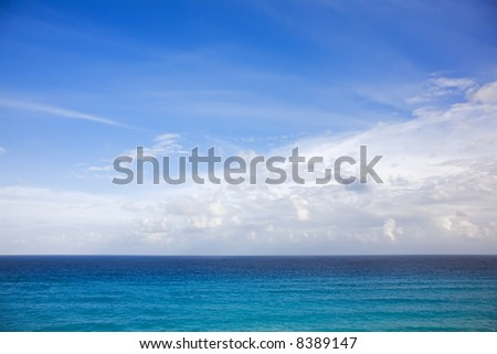 The turquoise waters of Cancun on the Yucatan Peninsula in Quintana Roo Mexico - stock photo