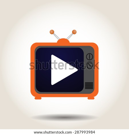 The TV is turned  - stock photo