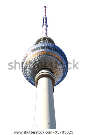 The TV Tower located on the Alexanderplatz in Berlin, Germany. Isolated on white.