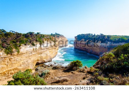 The Twelve Apostles, a famous collection of limestone stacks off the shore of the Port Campbell National Park, by the Great Ocean Road in Victoria, Australia - stock photo