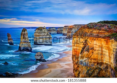 The Twelve Apostles, Great Ocean Road, Victoria - HDR image - stock photo