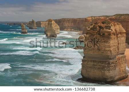 The twelve apostles in the shadow of the late afternoon sun in Victoria, Australia