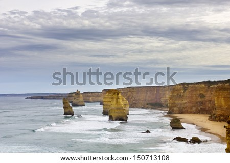 The twelve apostles is a well known landmark in South Australia, in the Great Ocean Road.