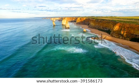 The Twelve Apostles sea as seen from helicopter.