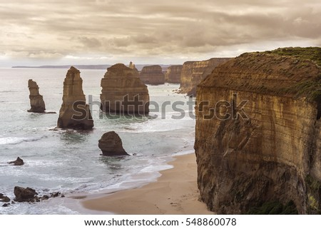 The twelve apostles with a little sunshine on a cloudy gloomy day.