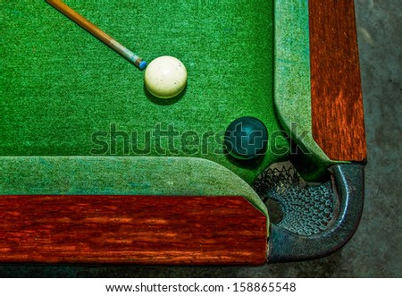 The Two balls on  snooker table - stock photo