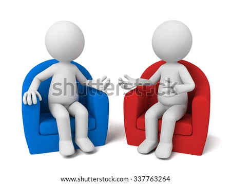 The two 3D people sit together and chat  - stock photo