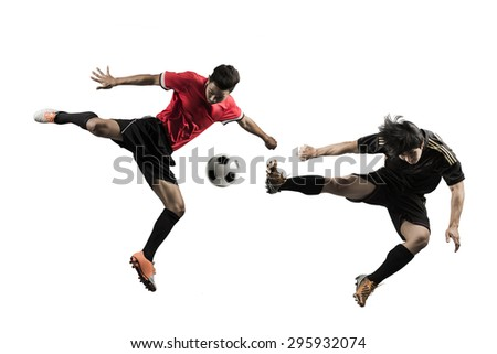 The two football teams clash in the finals of the cup Studio background - stock photo