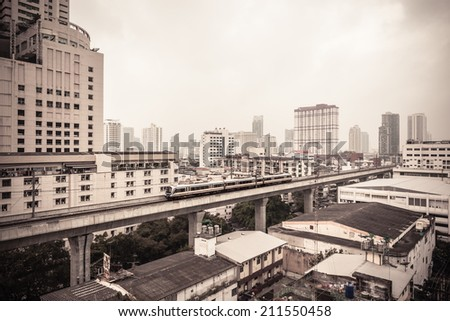 The two line Bangkok BTS is a 31 kilometer elevated transit system referred to as the Skytrain, or rot fai fah - stock photo