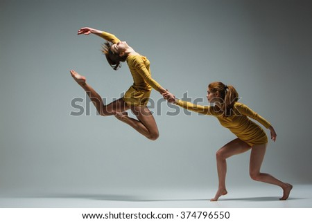 The two modern ballet dancers  - stock photo