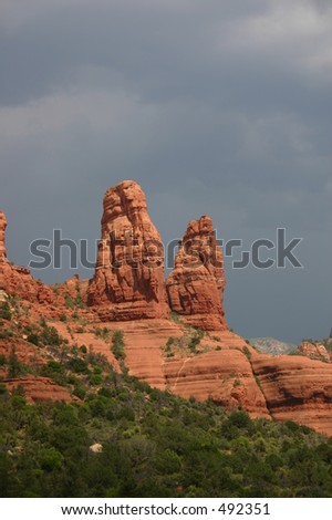 The Two Nuns, by Chapel of the Holy Cross Sedona. - stock photo
