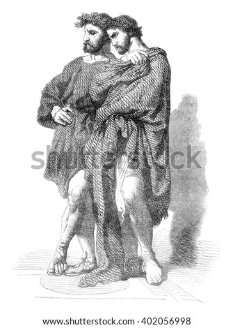 The two philosophers, the Roman Orgy, vintage engraved illustration. Magasin Pittoresque 1847.