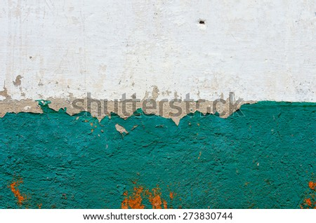 The two-tone horizontal old wall plastered and painted. textural composition - stock photo