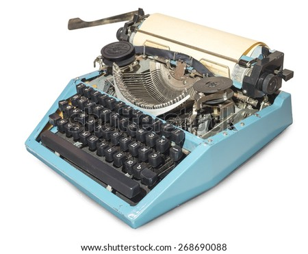The typewriter with blank sheet of paper - stock photo