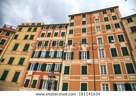 The typical houses of Camogli, famous small town in Mediterranean sea, Italy near Genoa