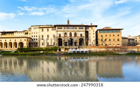 The Uffizi Gallery and the corridor Vasariano on the riverbank Arno, Florence Italy - stock photo