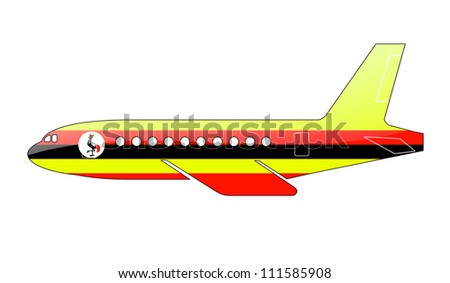 The Uganda flag painted on the silhouette of a aircraft. glossy illustration