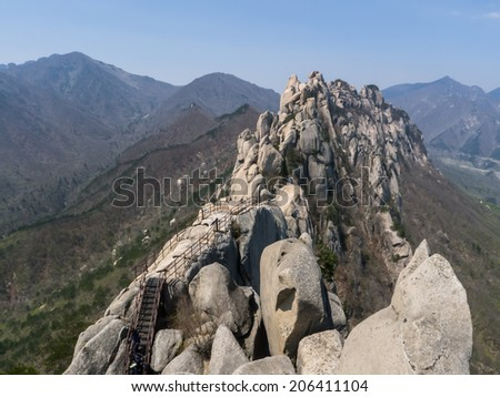 The Ulsanbawi wall in Seoraksan NP, South Korea - stock photo