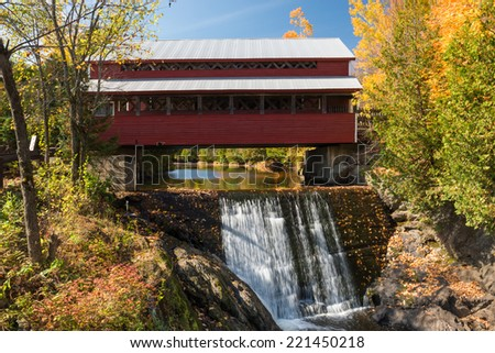 The Ulverton wooden bridge, Quebec, Canada - stock photo