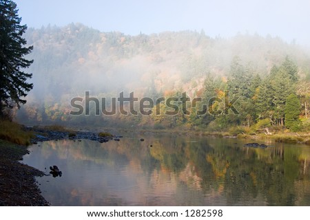 The Umpqua river at Whistler's bend on a foggy morning