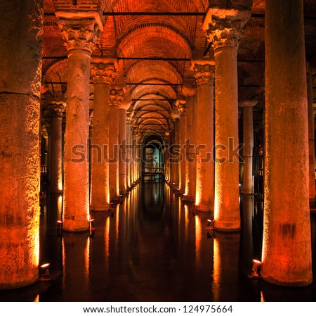 The Underground Basilica Cistern in Istanbul Turkey. - stock photo