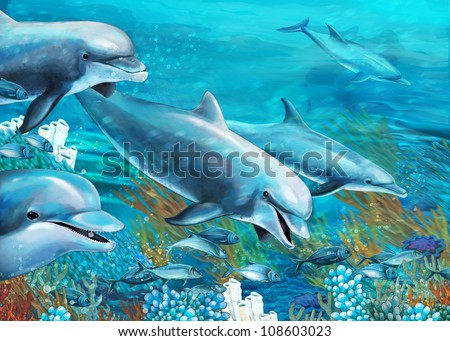 The underwater illustration - dolphins - coral reef - drawing for children