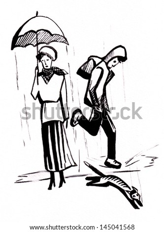 The unexpected rain, the boy and cat escape, the woman easy goes under an umbrella