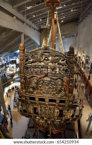 The unique reconstructed medieval boat, Vasa museum.Photo taken on:Stockholm, SWEDEN-May 31,2015.Daughter to Uppsala University exchange student.Family to Europe Travel.