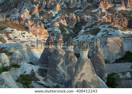 The unique shape of the landscape in Cappadocia. Zelve Valley. Turkey.