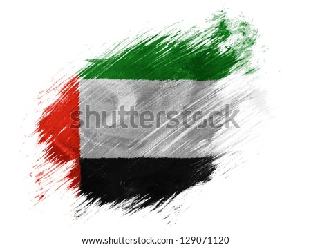 The United Arab Emirates flag  painted with brush on white background - stock photo