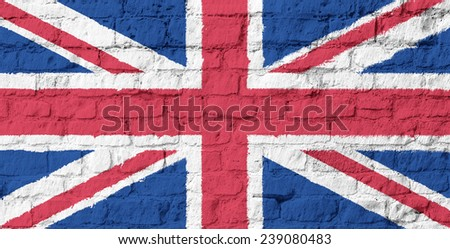 The United Kingdom flag on brick wall background