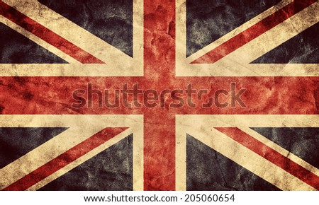 The United Kingdom or Union Jack grunge flag. Vintage, retro style. High resolution, hd quality. Item from my grunge flags collection. - stock photo