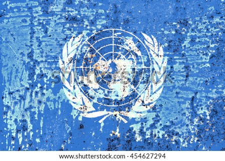The United Nations flag painted on grunge metal - stock photo
