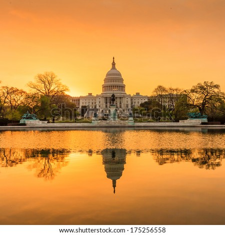 The United States Capitol building in Washington DC, sunrise - stock photo