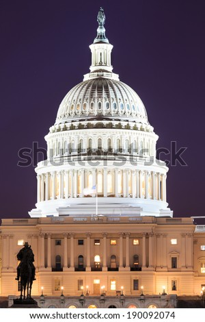 The United States Capitol building in Washington DC, USA - night scene - stock photo