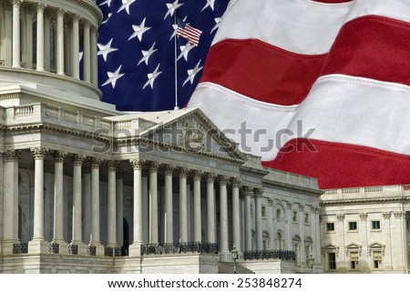 The United States Capitol Building in Washington DC with a U.S.A. flag in the background. A grunge effect has been applied. - stock photo