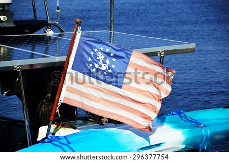 The United States Yacht Ensign. - stock photo