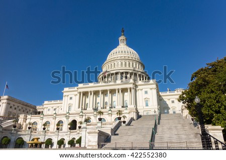 The United Statues Capitol Building on a sunny day, Washington DC, USA. - stock photo